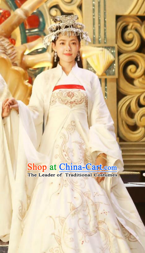 Traditional Chinese Tang Dynasty Princess Costume and Headpiece Complete Set, Asian China Ancient Bride Dress Clothing for Women