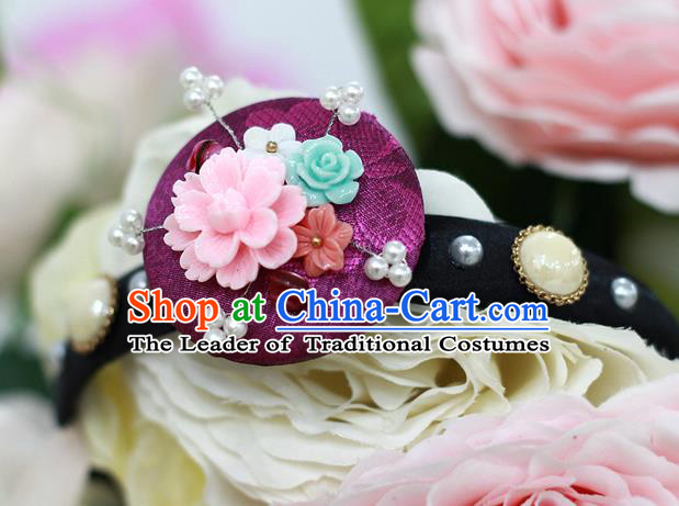 Korean National Hair Accessories Purple Hair Clasp, Asian Korean Hanbok Fashion Headwear Headband for Kids