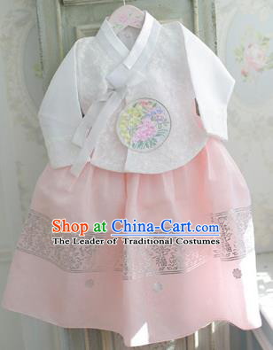 Asian Korean National Handmade Formal Occasions Wedding Bride Clothing Embroidered White Blouse and Pink Dress Palace Hanbok Costume for Kids