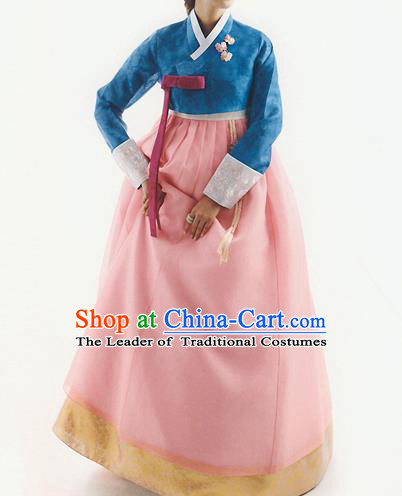 Korean National Handmade Formal Occasions Wedding Bride Clothing Hanbok Costume Embroidered Blue Blouse and Pink Dress for Women