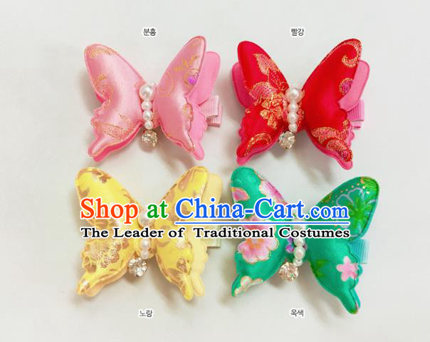 Korean National Hair Accessories Butterfly Hair Stick, Asian Korean Hanbok Fashion Headwear Headband for Kids