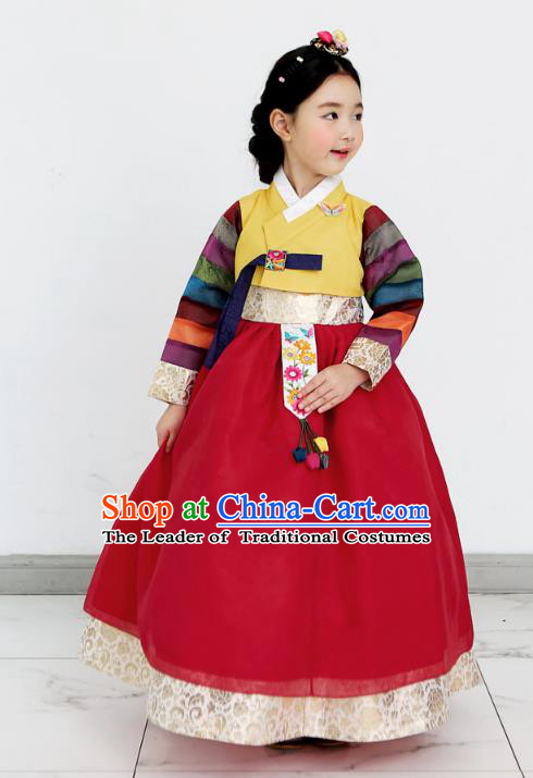 Asian Korean National Handmade Formal Occasions Wedding Clothing Yellow Blouse and Red Dress Palace Hanbok Costume for Kids