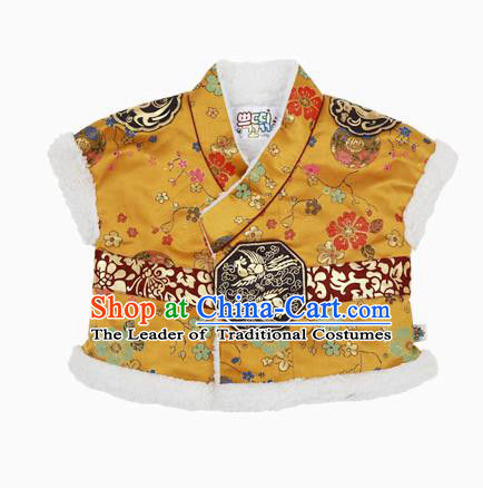 Asian Korean National Handmade Formal Occasions Wedding Bride Clothing Embroidered Yellow Vest Hanbok Costume for Kids