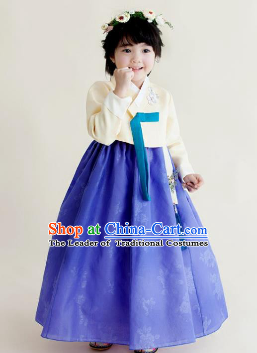 Asian Korean National Handmade Formal Occasions Clothing Embroidered Beige Blouse and Blue Dress Palace Hanbok Costume for Kids