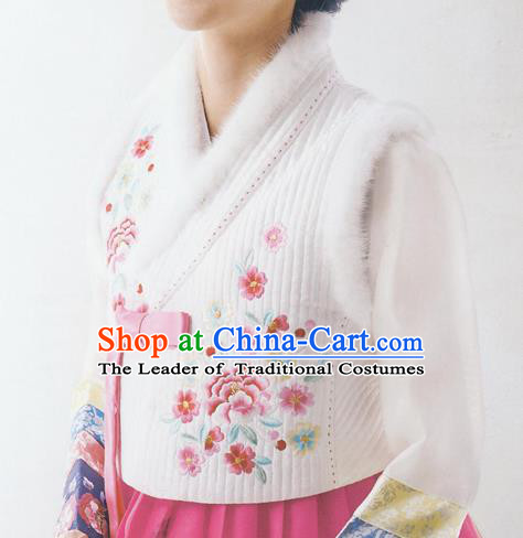 Asian Korean National Handmade Formal Occasions Wedding Bride Clothing Embroidered White Vest Hanbok Costume for Women