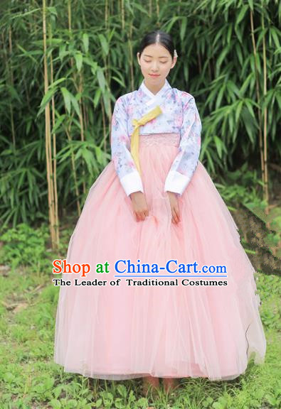 Korean National Handmade Formal Occasions Bride Clothing Hanbok Costume Printing Blouse and Pink Dress for Women