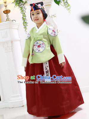 Asian Korean National Handmade Formal Occasions Wedding Clothing Green Blouse and Red Dress Palace Hanbok Costume for Kids