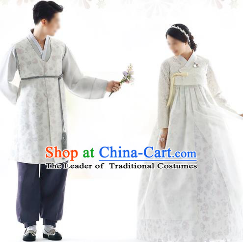 Korean National Handmade Formal Occasions Wedding Bride and Bridegroom Hanbok Embroidered Grey Costume Complete Set