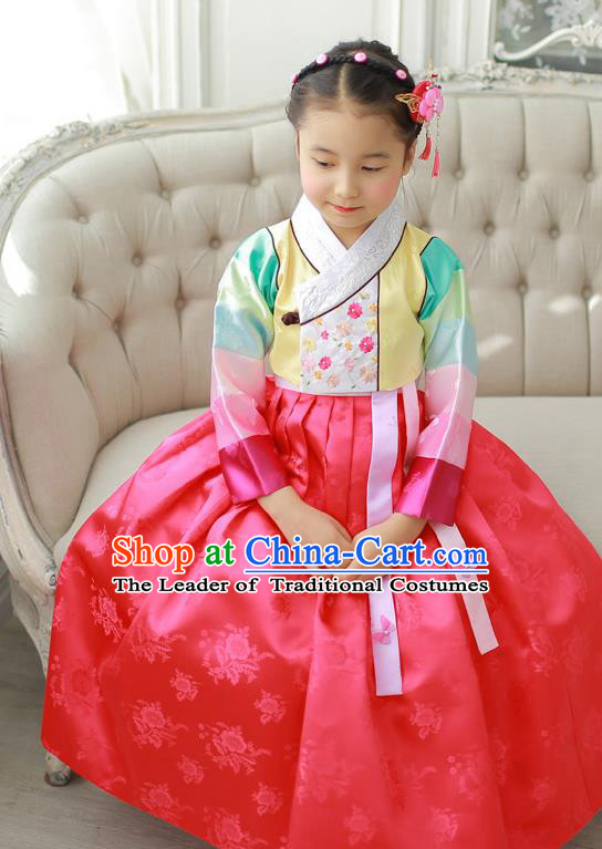 Korean National Handmade Formal Occasions Girls Hanbok Costume Embroidered Yellow Blouse and Red Dress for Kids