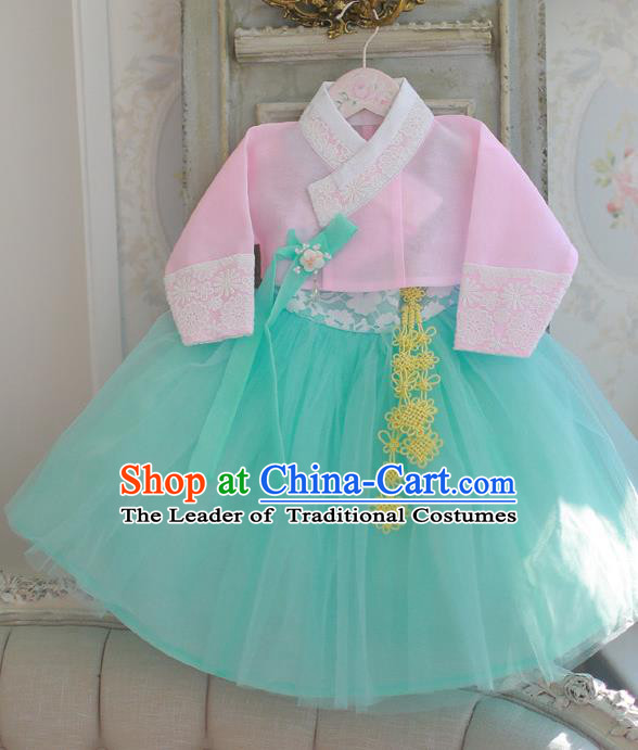 Korean National Handmade Formal Occasions Girls Hanbok Costume Embroidered Pink Blouse and Green Dress for Kids