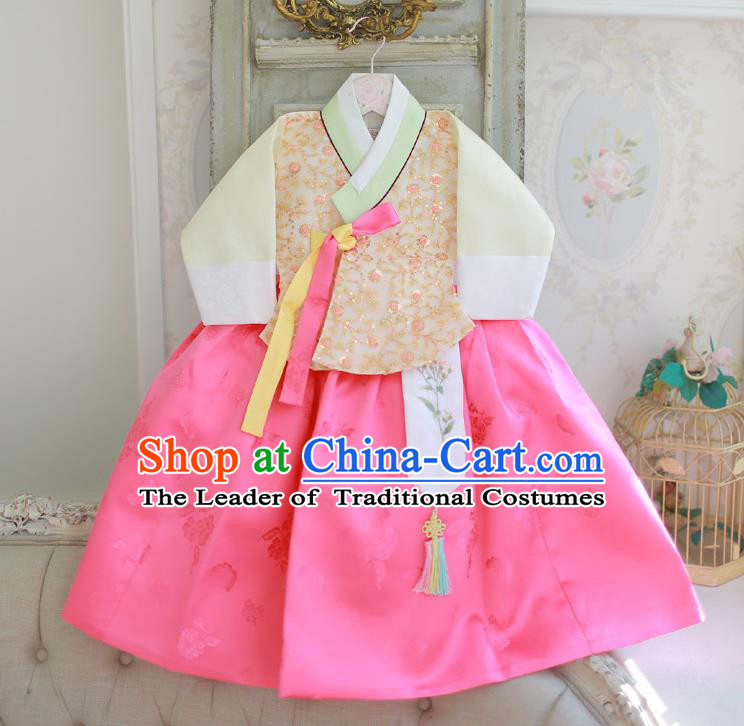 Korean National Handmade Formal Occasions Girls Hanbok Costume Embroidered Yellow Blouse and Pink Dress for Kids