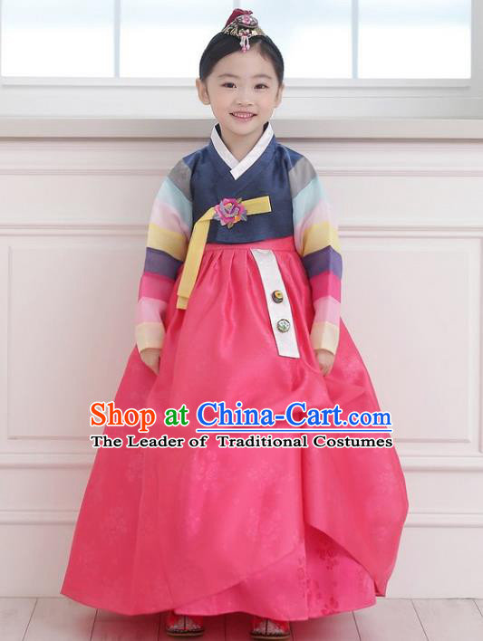 Asian Korean National Handmade Formal Occasions Wedding Girls Clothing Embroidered Navy Blouse and Pink Dress Palace Hanbok Costume for Kids