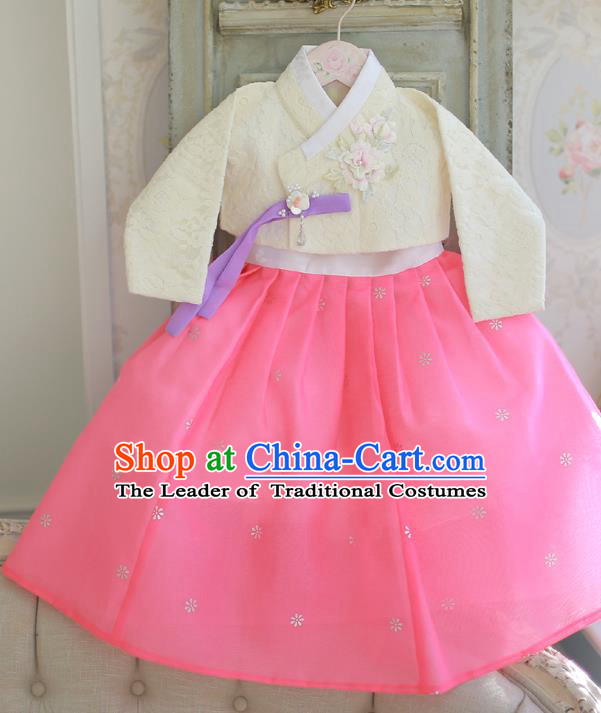 Korean National Handmade Formal Occasions Bride Clothing Hanbok Costume Embroidered White Blouse and Pink Dress for Kids