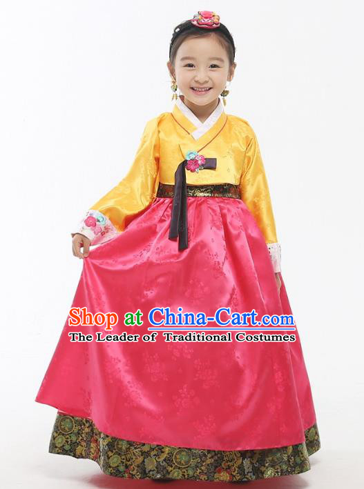 Asian Korean National Handmade Formal Occasions Wedding Girls Clothing Embroidered Yellow Blouse and Pink Dress Palace Hanbok Costume for Kids