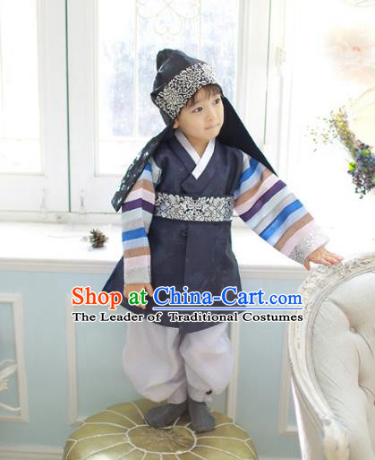 Asian Korean National Traditional Handmade Formal Occasions Boys Embroidery Navy Vest Prince Hanbok Costume Complete Set for Kids