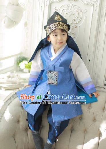 Asian Korean National Traditional Handmade Formal Occasions Boys Embroidery Blue Vest Prince Hanbok Costume Complete Set for Kids