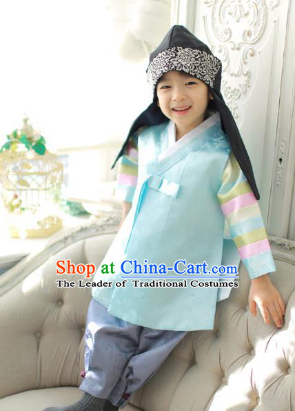 Asian Korean National Traditional Handmade Formal Occasions Boys Embroidery Light Green Vest Prince Hanbok Costume Complete Set for Kids