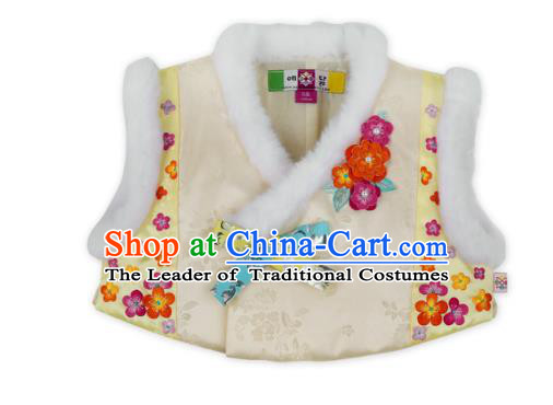 Asian Korean National Handmade Formal Occasions Wedding Girls Clothing Embroidered White Vest Hanbok Costume for Kids