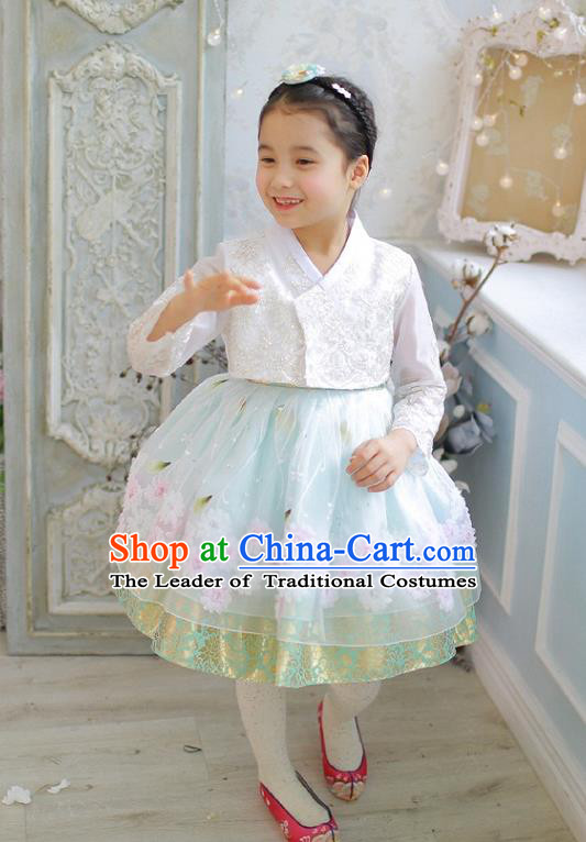 Asian Korean National Handmade Formal Occasions Wedding Girls Clothing Embroidered White Lace Blouse and Blue Dress Palace Hanbok Costume for Kids