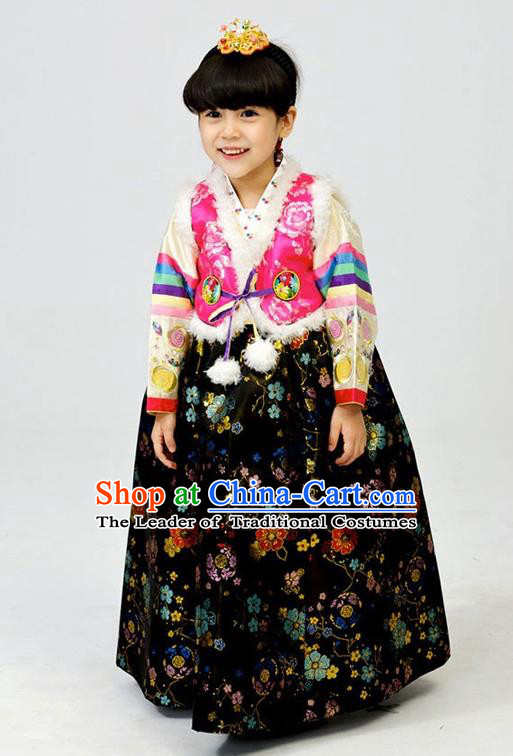 Asian Korean National Handmade Formal Occasions Wedding Girls Clothing Rosy Vest and Black Dress Palace Hanbok Costume for Kids
