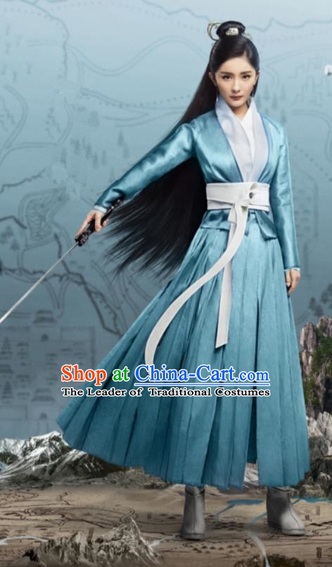 Traditional Chinese Ancinet Legend Of Fu Yao Swordswoman Embroidered Costume for Women