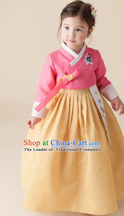 Asian Korean National Handmade Formal Occasions Wedding Girls Clothing Embroidered Pink Blouse and Yellow Dress Palace Hanbok Costume for Kids