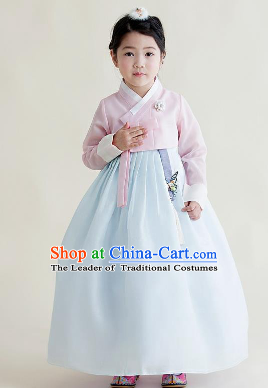 Asian Korean National Handmade Formal Occasions Wedding Girls Clothing Embroidered Pink Blouse and Blue Dress Palace Hanbok Costume for Kids