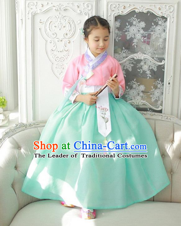 Asian Korean National Handmade Formal Occasions Wedding Girls Clothing Embroidered Pink Blouse and Green Dress Palace Hanbok Costume for Kids
