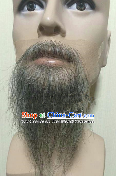 Chinese Ancient Opera Old Men Grey Long Wig Beard, Traditional Chinese Beijing Opera False Beard Laosheng-role Mustache