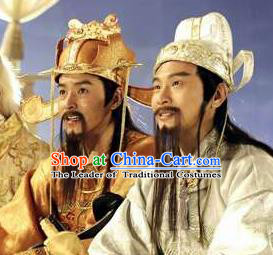 Chinese Ancient Opera Old Men God of Wealth Beard, Traditional Chinese Beijing Opera Taoist Priest Mustache for Men