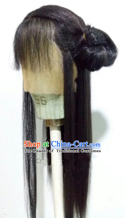 Chinese Ancient Beijing Opera Actress Young Women Wig, Traditional Chinese Beijing Opera Diva Wig Sheath