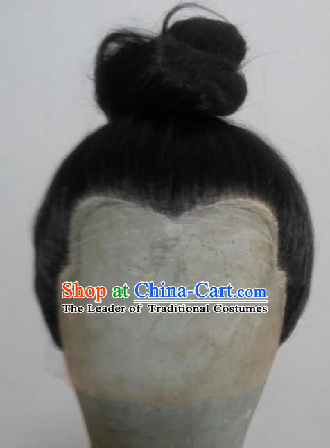 Chinese Ancient Opera Swordsman Young Men Chignon Wig, Traditional Chinese Beijing Opera Kawaler Taoist Priest Wig Sheath for Men