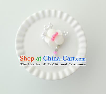Korean National Accessories Girls White Begonia Brooch, Asian Korean Hanbok Fashion Bride Breastpin for Kids