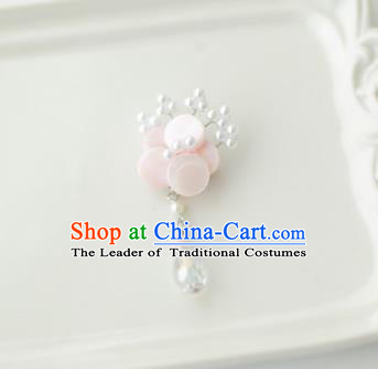 Korean National Accessories Girls Light Pink Begonia Brooch, Asian Korean Hanbok Fashion Bride Breastpin for Kids