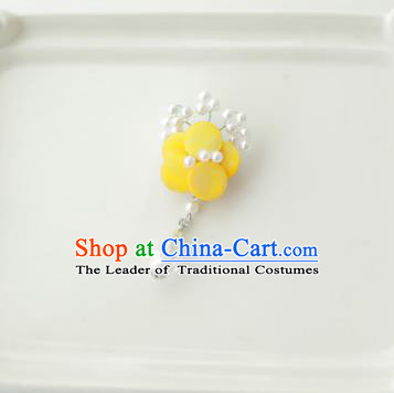 Korean National Accessories Girls Yellow Begonia Flower Brooch, Asian Korean Hanbok Fashion Bride Breastpin for Kids