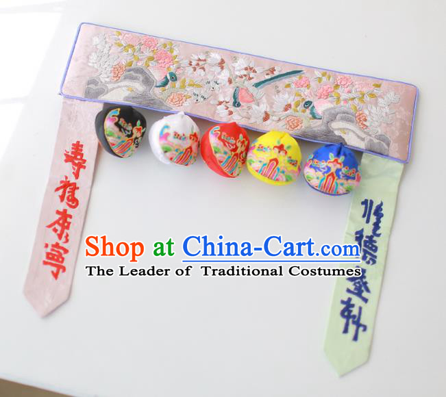 Traditional Korean Accessories Embroidered Birds Flowers Pink Waist Belts, Asian Korean Fashion Waistband Decorations for Kids