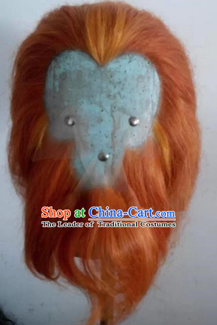 Chinese Ancient Journey to the West Handsome Monkey King Wig and Beard, Traditional Chinese Beijing Opera Sun Wukong Mustache for Men