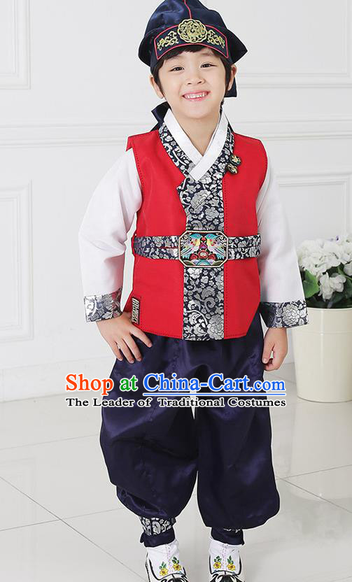 Asian Korean National Traditional Handmade Formal Occasions Boys Embroidery Red Vest Hanbok Costume Complete Set for Kids