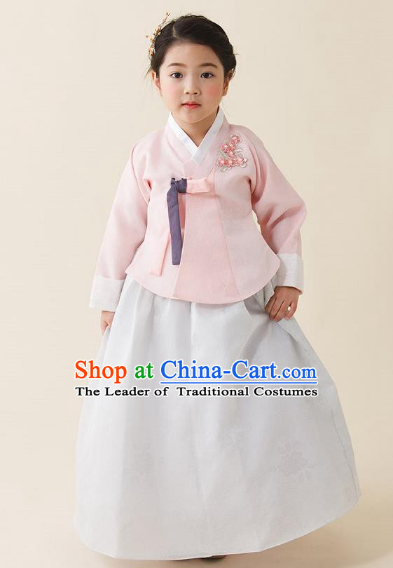 Asian Korean National Handmade Formal Occasions Wedding Girls Clothing Palace Hanbok Costume Embroidered Pink Blouse and White Dress for Kids