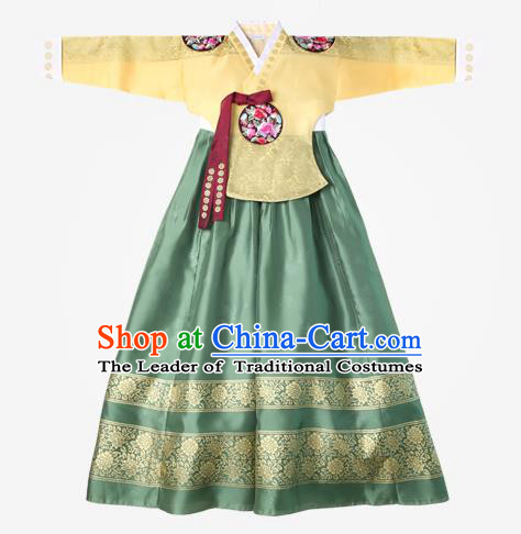 Asian Korean National Handmade Wedding Clothing Palace Bride Hanbok Costume Embroidered Yellow Blouse and Green Dress for Women