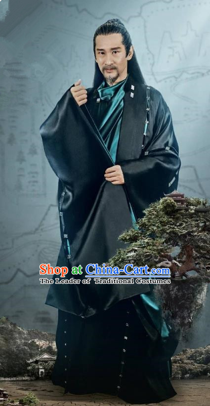 Traditional Chinese Legend Of Fu Yao Chancellor Clothing, China Ancient Nobility Minister Embroidered Costume for Men