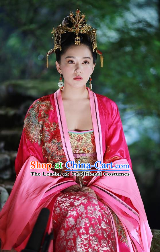 Traditional Chinese Tang Dynasty Princess Wedding Red Clothing, China Ancient Palace Lady Embroidered Dress Costume for Women