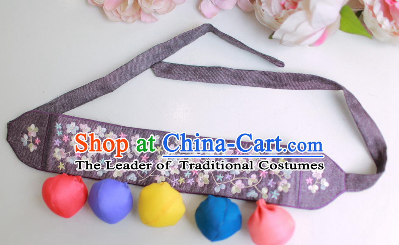 Traditional Korean Accessories Embroidered Flowers Purple Waist Belts, Asian Korean Fashion Waistband Decorations for Kids
