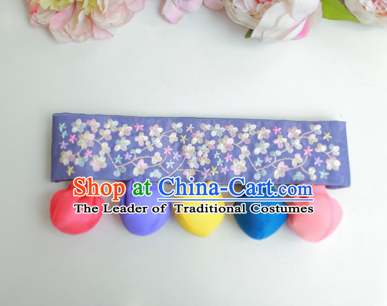 Traditional Korean Accessories Embroidered Flowers Blue Waist Belts, Asian Korean Fashion Waistband Decorations for Kids