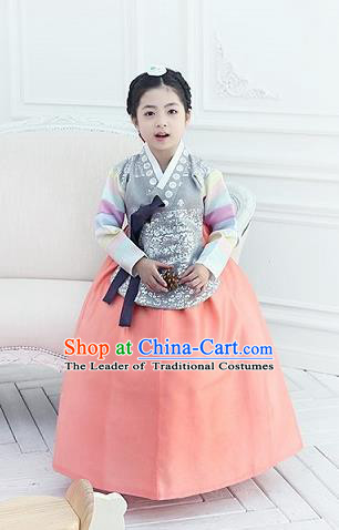 Korean National Handmade Formal Occasions Girls Clothing Palace Hanbok Costume Embroidered Grey Blouse and Orange Dress for Kids