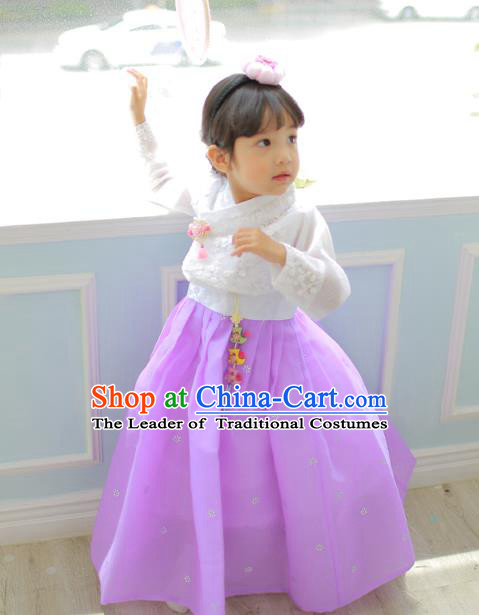 Korean National Handmade Formal Occasions Girls Clothing Palace Hanbok Costume Embroidered White Blouse and Purple Dress for Kids