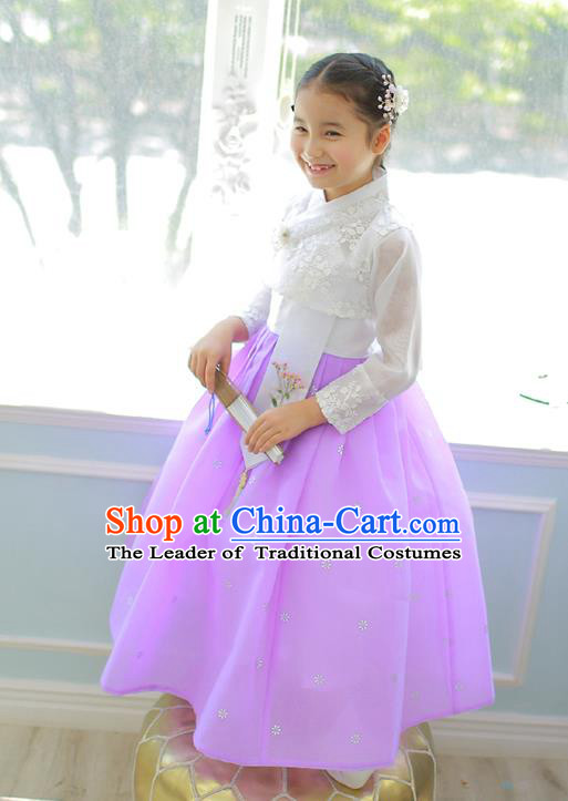 Korean National Handmade Formal Occasions Girls Clothing Palace Hanbok Costume Embroidered White Lace Blouse and Purple Dress for Kids