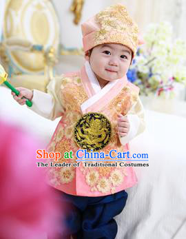 Asian Korean National Traditional Handmade Formal Occasions Boys Embroidery Orange Vest Hanbok Costume Complete Set for Kids