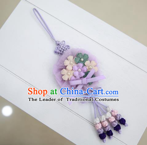 Asian Korean Hanbok Purple Tassel Waist Decorations, Korean National Belts Accessories Wedding Bride Waist Pendant for Kids