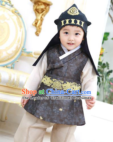 Asian Korean National Traditional Handmade Formal Occasions Boys Embroidery Black Vest Hanbok Costume Complete Set for Kids